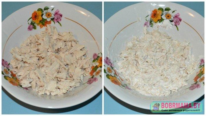 Ананасовый салат с курицей слоями рецепт с